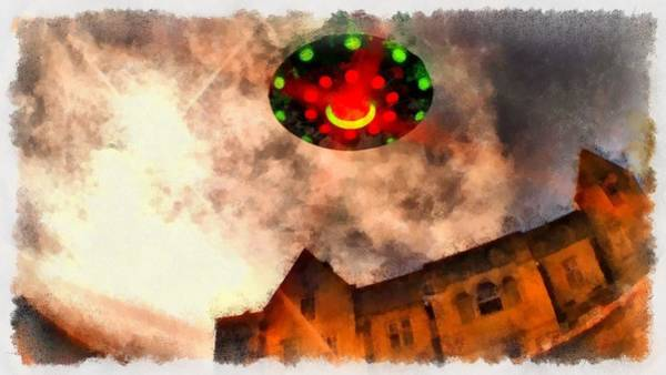 Area 51 Wall Art - Painting - Ufo Stately Home by Esoterica Art Agency