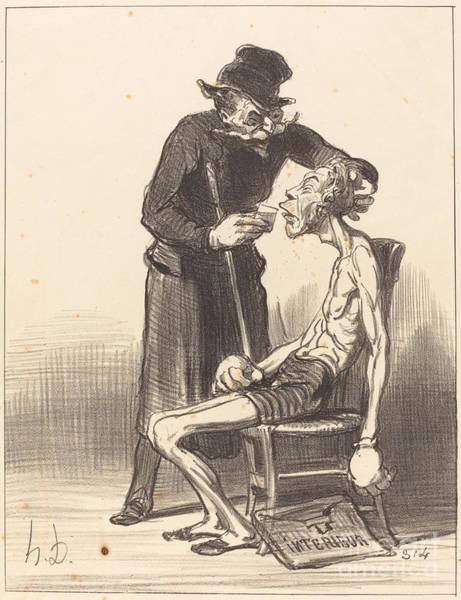 Wall Art - Drawing - Un Lutteur Malheureux by Honor? Daumier