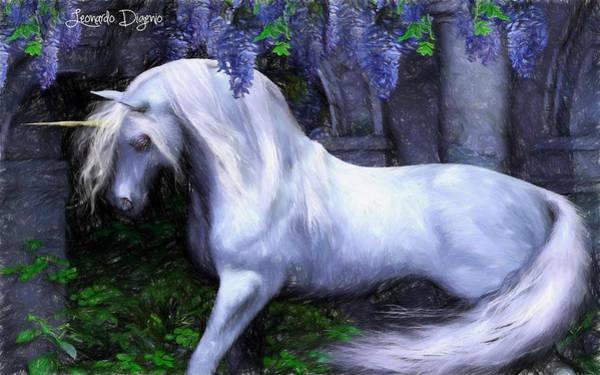 Ancient Woodland Painting - Unicorn - Pencil Style by Leonardo Digenio