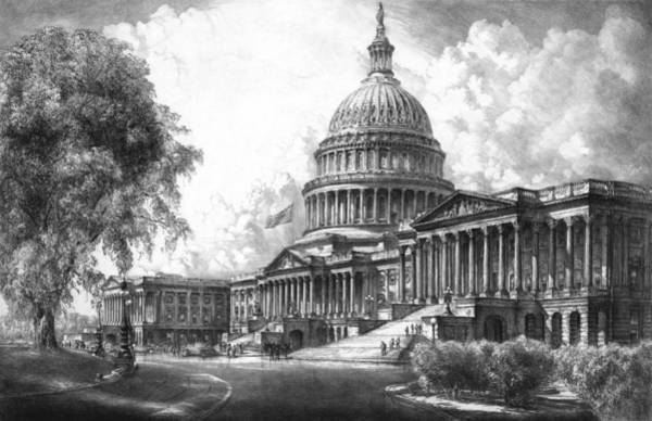Capitol Drawing - United States Capitol Building by War Is Hell Store