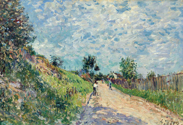 Mother Road Wall Art - Painting - Uphill Road by Alfred Sisley
