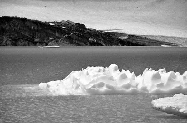 Photograph - Upper Grinnell Lake With Icebergs Black And White by Bruce Gourley