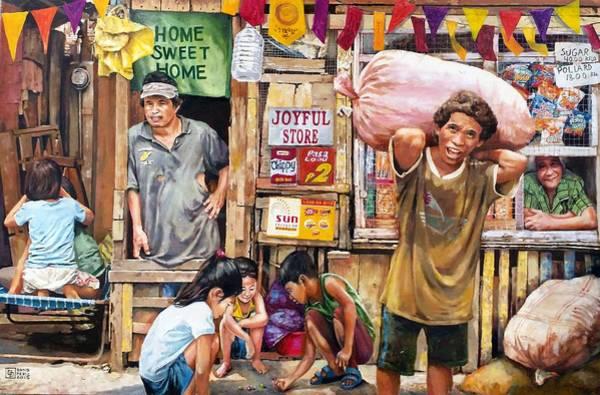 Filipino Drawing - Urban Settlers by Bong Perez
