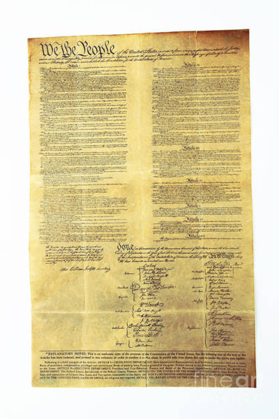 Wall Art - Photograph - U.s Constitution by Photo Researchers, Inc.