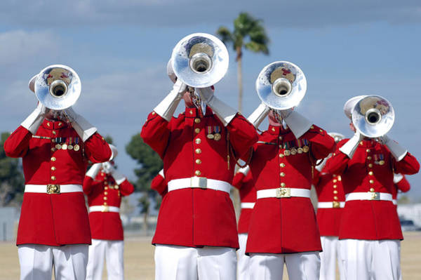 Marine Corps Photograph - U.s. Marine Corps Drum And Bugle Corps by Stocktrek Images