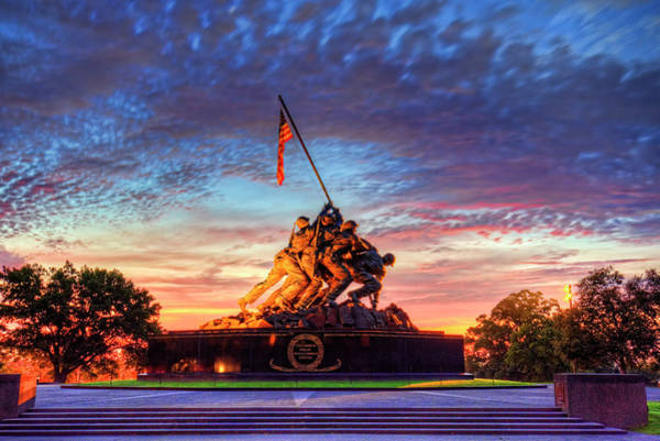 Wall Art - Photograph - Us Marine Corps War Memorial Sunrise by Craig Fildes