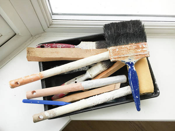 Windowsill Photograph - Used Paint Brushes by Tom Gowanlock