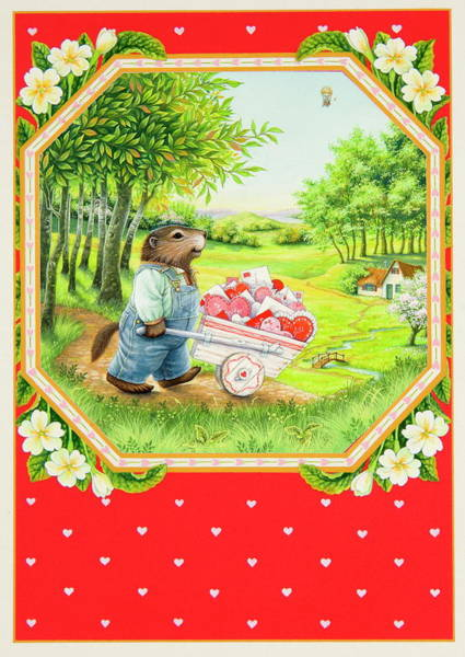 Groundhog Painting - Valentine Delivery by Lynn Bywaters