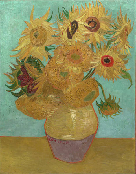 Wall Art - Painting - Van Gogh Vase With Twelve Sunflowers by Vincent Van Gogh