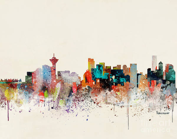 Vancouver Wall Art - Painting - Vancouver Skyline by Bri Buckley