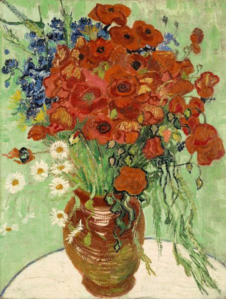 Painting - Vase With Daisies And Poppies by Vincent Van Gogh