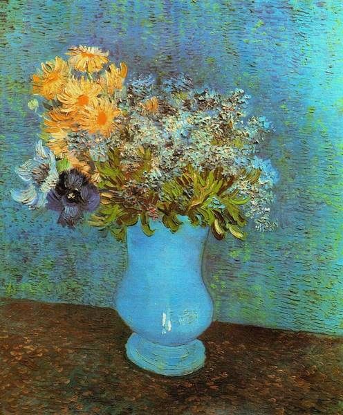 Painting - Vase With Lilacs Daisies And Anemones by Vincent Van Gogh