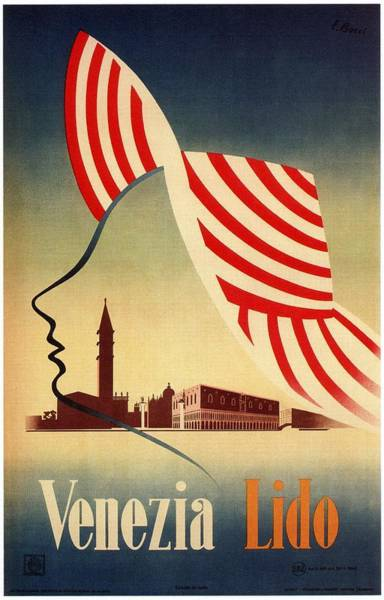 Hat Mixed Media - Venezia Lido, Venice, Italy - Retro Travel Poster - Vintage Poster by Studio Grafiikka