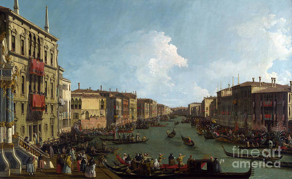 Wall Art - Painting - Venice  A Regatta On The Grand Canal by Canaletto