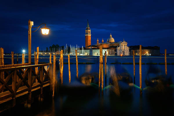 Photograph - Venice At Night And San Giorgio Maggiore Church by Songquan Deng