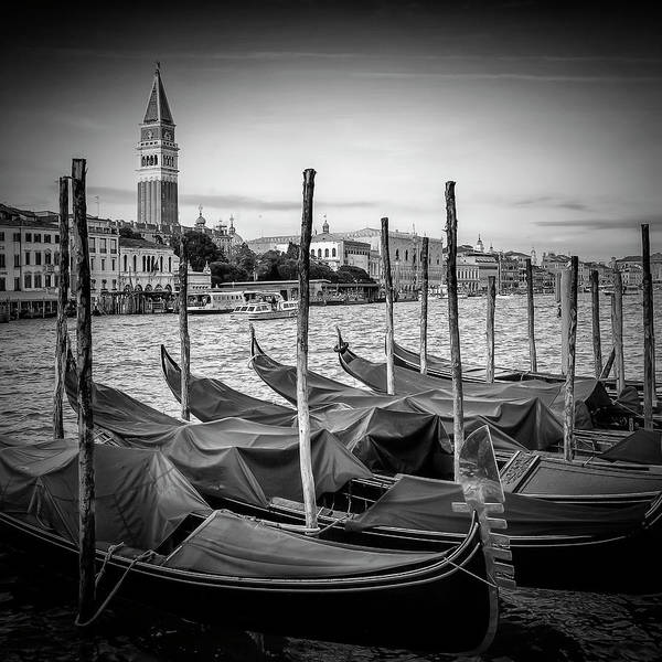 Wall Art - Photograph - Venice Grand Canal And St Mark's Campanile - Monochrome by Melanie Viola