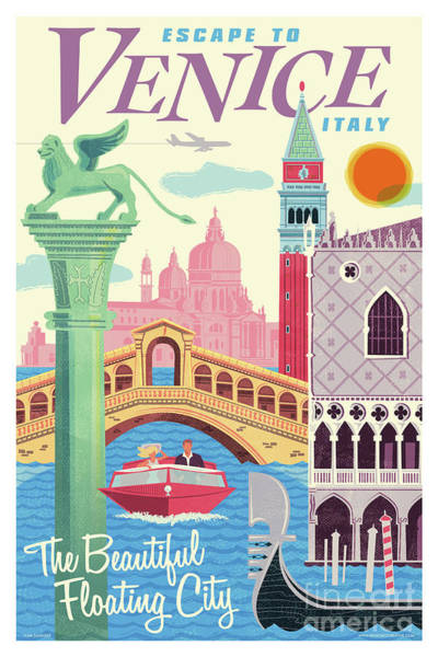 1960s Digital Art - Venice Poster - Retro Travel  by Jim Zahniser