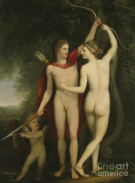 Ancient Woodland Painting - Venus, Adonis And Cupid  by Jonas Akerstrom