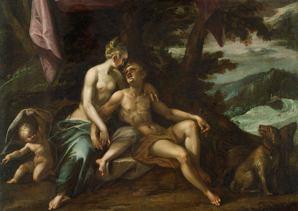 Wall Art - Painting - Venus And Adonis by Hans von Aachen