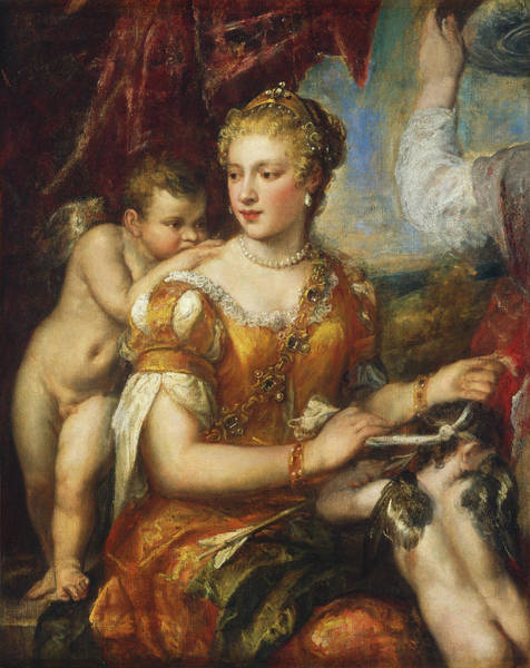 Painting - Venus Blindfolding Cupid by Follower Of Titian