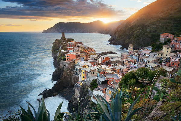 Photograph - Vernazza Sunset In Cinque Terre by Songquan Deng
