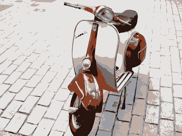 Vehicle Digital Art - Vespa Scooter Pop Art by Michael Tompsett