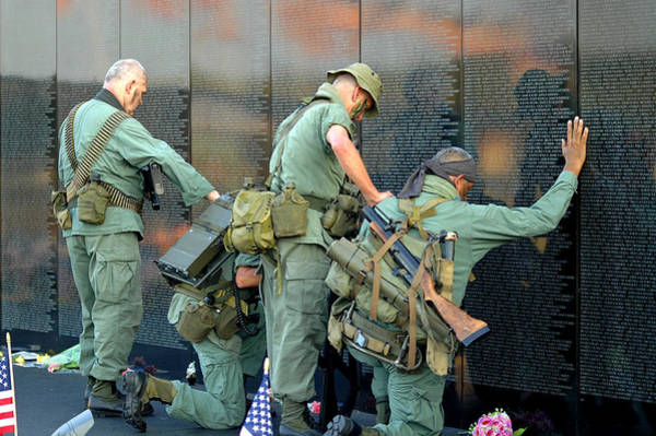 Honor Guard Photograph - Veterans At Vietnam Wall by Carolyn Marshall