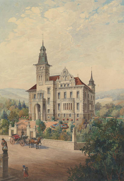 Drawing - View Of A Swiss Villa by Rudolf von Alt