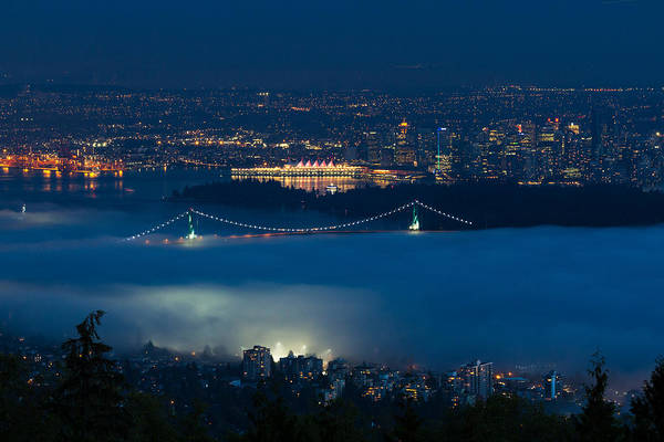 Port Of Vancouver Wall Art - Photograph - View Of Lions Gate Bridge And Vancouver In The Fog by Michael Russell