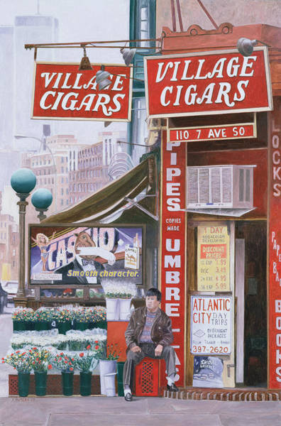 Corner Shop Wall Art - Painting - Village Cigars by Anthony Butera