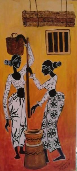 Wall Art - Painting - Village Women by Sudumenike Wijesooriya