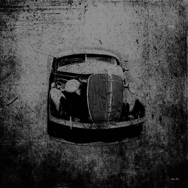 Mixed Media - Vintage Car Art 0443 Bw by Lesa Fine