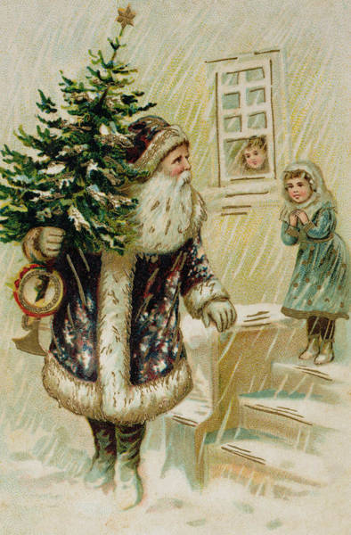 Happy Little Trees Painting - Vintage Christmas Card by American School
