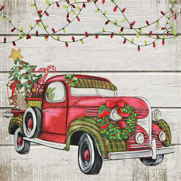 Wall Art - Painting - Vintage Christmas Truck-e by Jean Plout