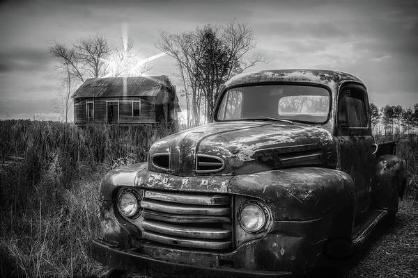 Wall Art - Photograph - Vintage Classic Ford Pickup Truck In Black And White by Debra and Dave Vanderlaan