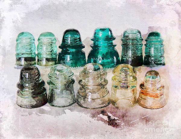 Glass Insulator Photograph - Vintage Glass Insulators by Phil Perkins