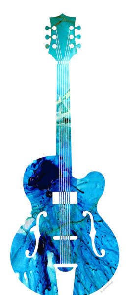 Wall Art - Painting - Vintage Guitar 2 - Colorful Abstract Musical Instrument by Sharon Cummings