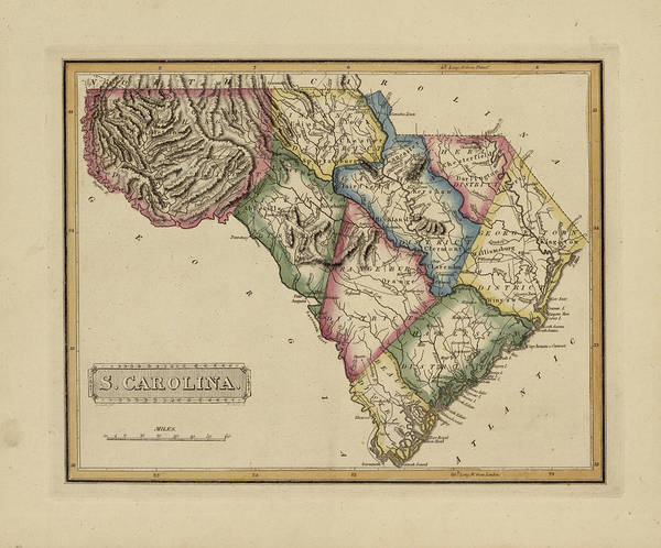 Wall Art - Painting - Antique Map Of South Carolina by Fielding Lucas