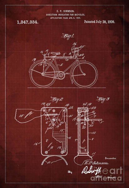 Invention Painting - Vintage Patent Direction Indicator For Bycicles Patent From 1920 by Drawspots Illustrations