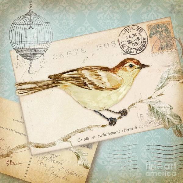 Wall Art - Painting - Vintage Postcard Bird by Paul Brent