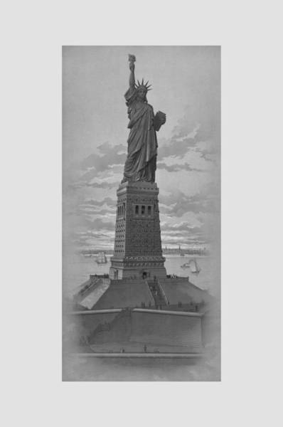 Wall Art - Drawing - Vintage Statue Of Liberty by War Is Hell Store