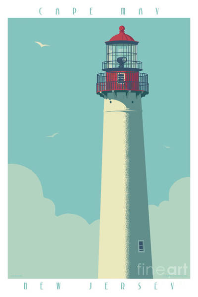 Boats Digital Art - Cape May Poster - Vintage Travel Lighthouse  by Jim Zahniser