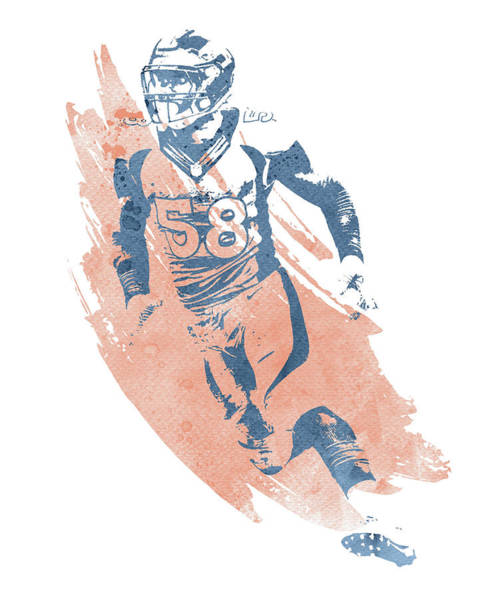 Wall Art - Mixed Media - Von Miller Denver Broncos Water Color Art 2 by Joe Hamilton