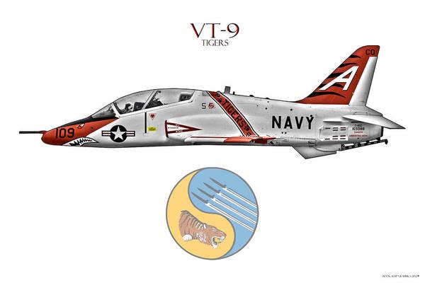 Vt Wall Art - Digital Art - Vt-9 Tigers by Clay Greunke