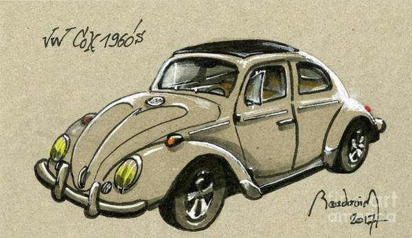Le Mans 24 Painting - Grey Bug by Alain Baudouin