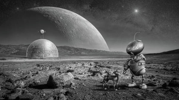 Planets And Moons Digital Art - Walking The Dog by Pixabay