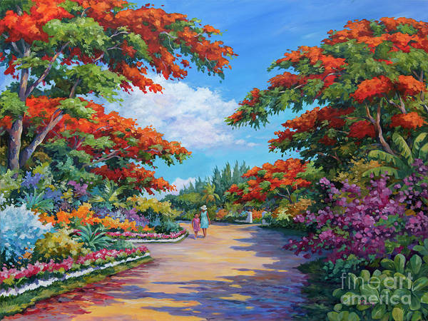 Wall Art - Painting - Poincianas In Summer by John Clark