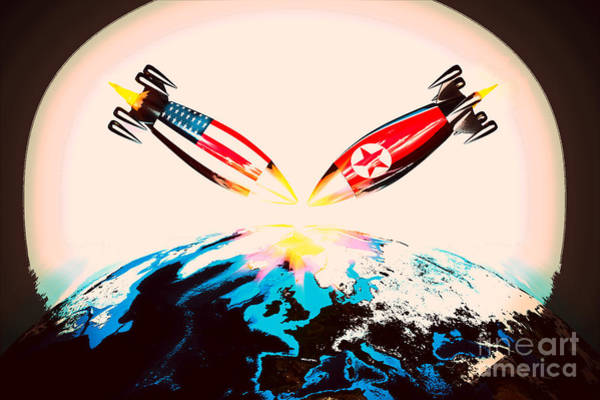 Atomic Weapons Digital Art - War With Nuclear Bombs With America And North Korea by Giovanni Cancemi
