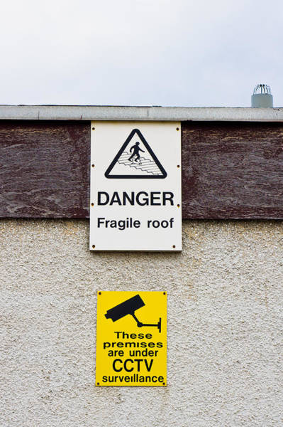 Demolition Wall Art - Photograph - Warning Signs by Tom Gowanlock