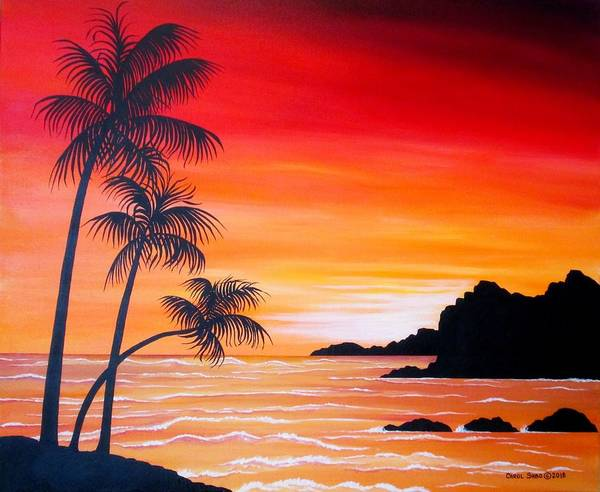 Wall Art - Painting - Watching The Sunset by Carol Sabo